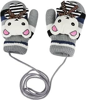 Cute Rabbit Kids Knit Wool Crochet Warm Fleece Lined Winter Gloves with String