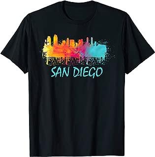 San Diego Watercolor Skyline California State Pride T-shirt T-Shirt