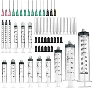 15 Pack syringe - 100ml,60ml,30ml,10ml,5ml,3ml,1ml Syringes with Blunt Tip Needles and Storage Caps Great for Refilling an...