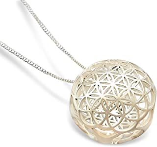 Flower of Life Mandala 3D Pendant Sterling Silver Necklace 25mm -Inspirational Jewelry - Circle Charm EMF Protection Reiki Sacred Geometry