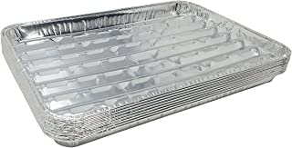 Pack of 15 Disposable Aluminum Broiler Pans – Good for BBQ, Grill Trays – Multi-Pack of Durable Aluminum Sheet Pans – Ribbed Bottom Surface - 13.40