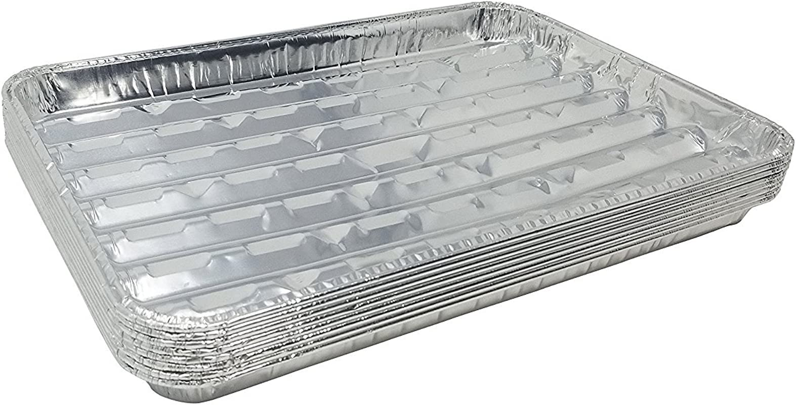 Pack Of 50 Disposable Aluminum Broiler Pans Good For BBQ Grill Trays Multi Pack Of Durable Aluminum Sheet Pans Ribbed Bottom Surface 13 40 X 9 X 0 85