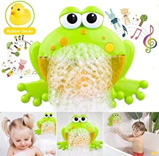 HengGL Baby Bath Bubble Toys Set, Automatic Frog Bubble Maker Kids Bath Bubble Machine with 12 Music Baby Fun Bath Toys