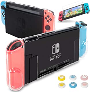 Dockable Case for Nintendo Switch, Hestia Goods Protective Cover Case with 2 Pack Screen Protector & 6 Pcs Thumb Grip for ...