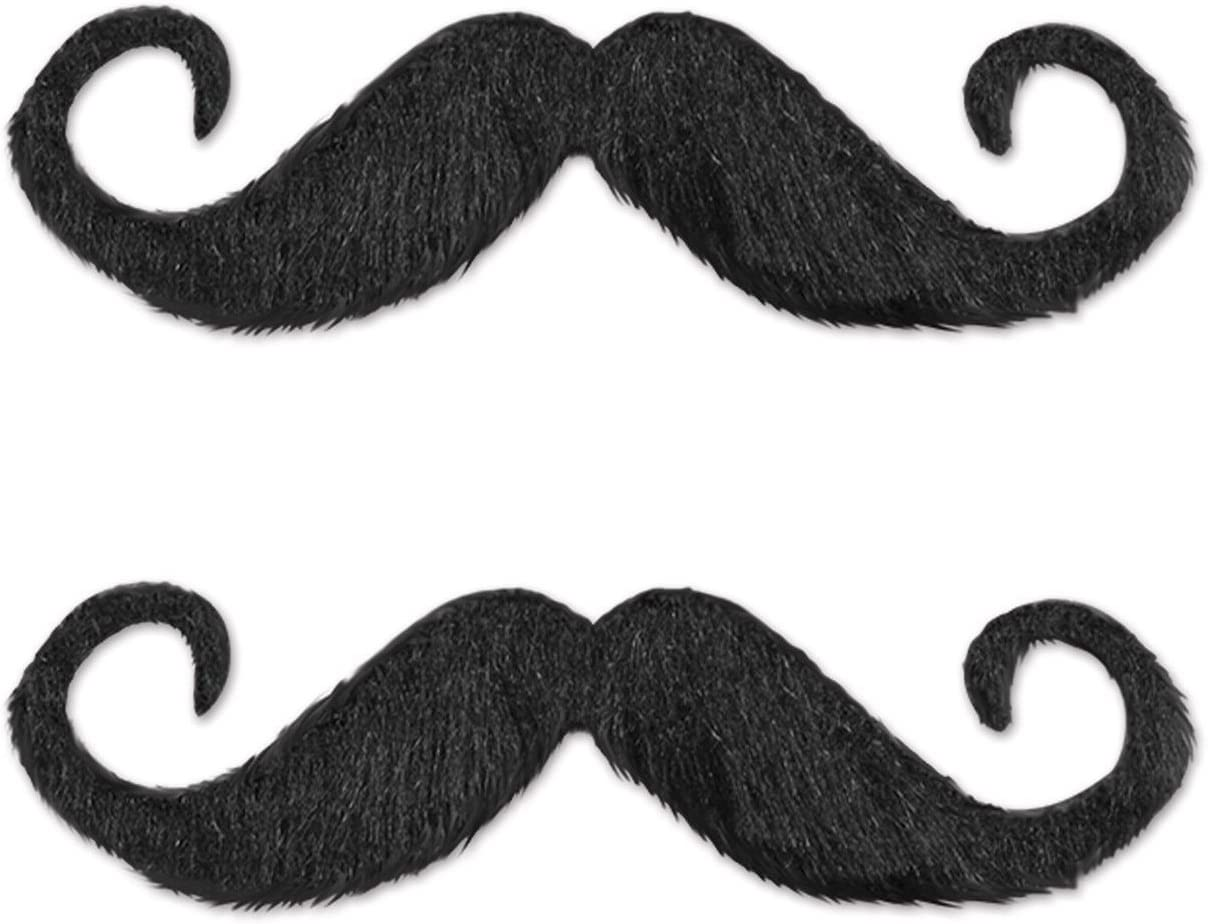 Beistle Handlebar Hairy'stache, 5-Inch, Black (2-Pack)