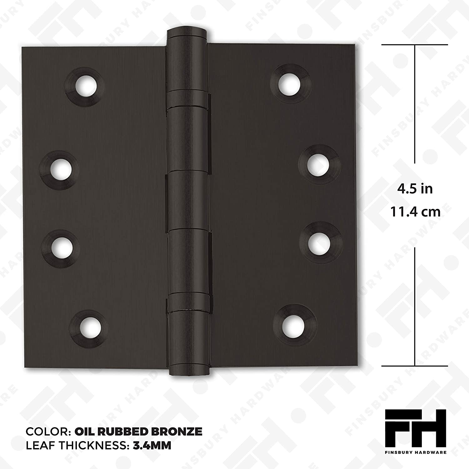 Set of 3 Hinges Oil-Rubbed Bronze Finsbury Hardware Heavy Duty Door Hinge Bronze Ball Bearing 4.5 x 4.5 Inch Solid Brass Heavy Duty with Free Decorative Screw-on Tips Included