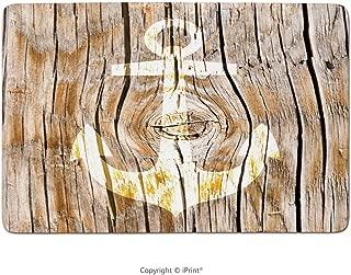 Bathroom Rug, Vintage White Nautical On Old Hardwood Floor Plank Grunge Lodge Garage Loft Natural Rural Graphic Artsy Rustic Barn House Wood and Nails Print Theme, Bath Mat,Non-Slip Entry Door Carpet