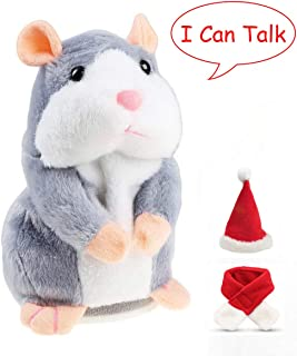 Eocolz Talking Hamster Repeats What You Say Mimicry Pet Plush Buddy Electronic Mouse Interactive Toy Funny Kids Stuffed Toys Children Early Learning for Girl and Boy Gift (Gray)