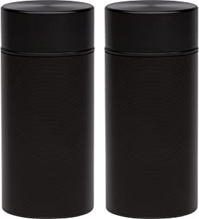 2X Stash Jar - Airtight Smell Proof Durable Multi-Use Portable Metal Herb Container. Waterproof Aluminum Screw-top Lid Lock Odor. Beautiful Discreet Design Store Herbs Tobacco Spices Securely - Black