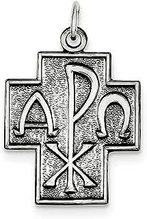 Lex & Lu Sterling Silver Antiqued Alpha Omega Cross Pendant
