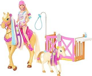 Barbie GXV77 - zestaw do zabawy z lalką, 2 końmi i ponad 20 akcesoriami, dla dzieci od 3 do 7 lat