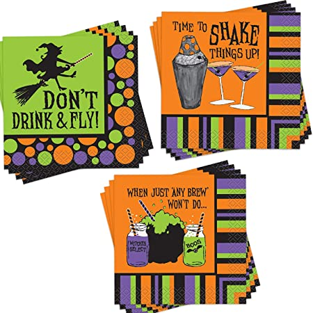 5 by 5 Inches Aneco 100 Pack Halloween Cocktail Napkins Orange Pumpkin Design with 3 Layers Delicate Disposable Party Napkins Party Supplies for Halloween Tableware