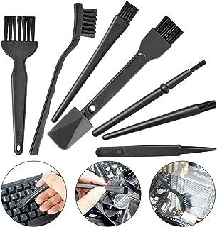 Small Portable Plastic Handle Nylon Anti Static Brushes Computer Keyboard Cleaning Brush Kit (Black, Set of 7)
