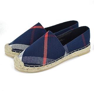 Tengyu Womens Espadrilles Flats Original Slip On Loafer Shoes Classic Canvas Comfort Alpargatas (US9=