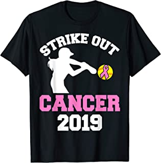 Strike Out Cancer Softball Support Breast Cancer Awareness T-Shirt