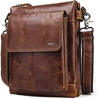 Mens Leather Bag Leather Men's Business Bag Men's Single Shoulder Bag Crossbody Men's Vertical Bag Bag (Color : Dark Coffee, Size : S)