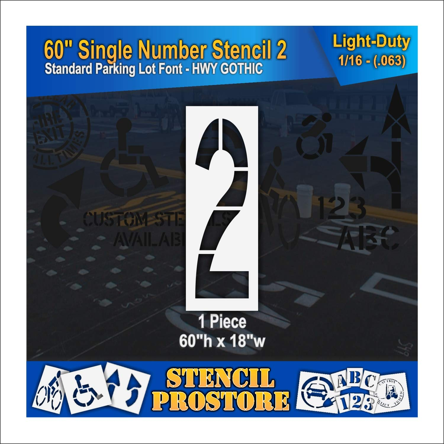 Pavement Stencils - 60 inch Single Number 18
