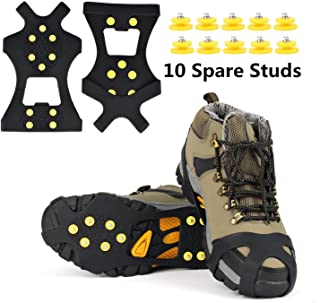 EONPOW Ice Grips, Ice & Snow Grips Cleat Over Shoe/Boot Traction Cleat Rubber Spikes Anti Slip 10 Steel Studs Crampons Slip-on Stretch Footwear