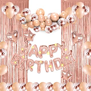 RVEE Rose Gold Balloons Birthday Party Backdrop Decorations Party Supplies Set for Girl &Women including Happy Birthday Ba...