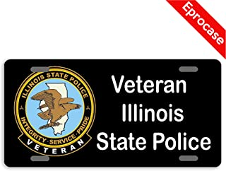 Eprocase License Plate Veteran Illinois State Police License Plate Cover Decorative Car Tag Sign Metal Auto Tag Novelty Front License Plate 4 Holes (12