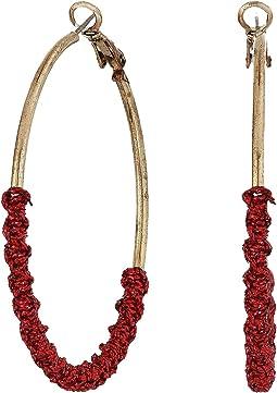 Red Twist Hoop Earrings