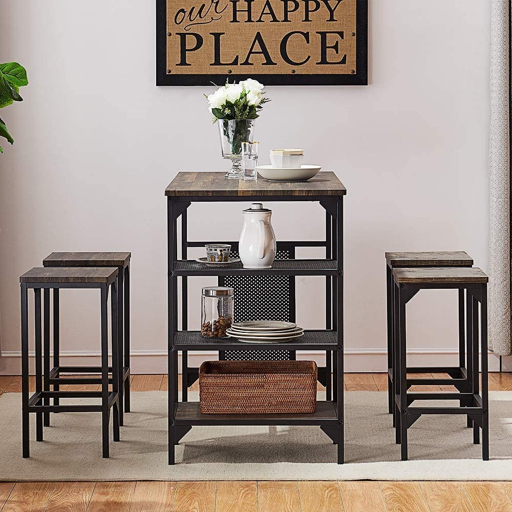Amazon Com O K Furniture 5 Piece Dining Room Table Set Bar Pub Table Set Industrial Style Counter Height Kitchen Table With 4 Backless Bar Stools For Dining Area Gray Brown Finish Table