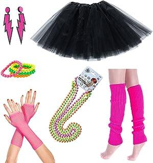 iLoveCos 80er Night Out Party Kleid Zubehör Neon Erwachsener Tutu,Beinwärmer,Fischnetz Handschuhe,Fluoreszierende Perlenketten Halsketten,Armbänder,Blitz Ohrringe Mädchen Fraue 80s Fancy Dress(CC3)
