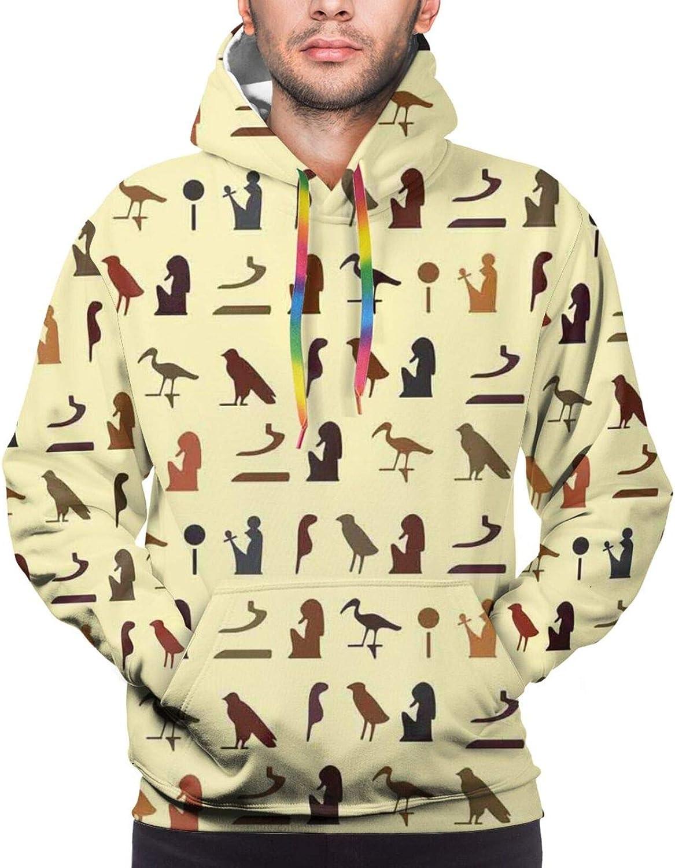 Men's Hoodies Sweatshirts,Pattern with Ancient Egyptian Symbols in Earth Tones Hieroglyph Language Print