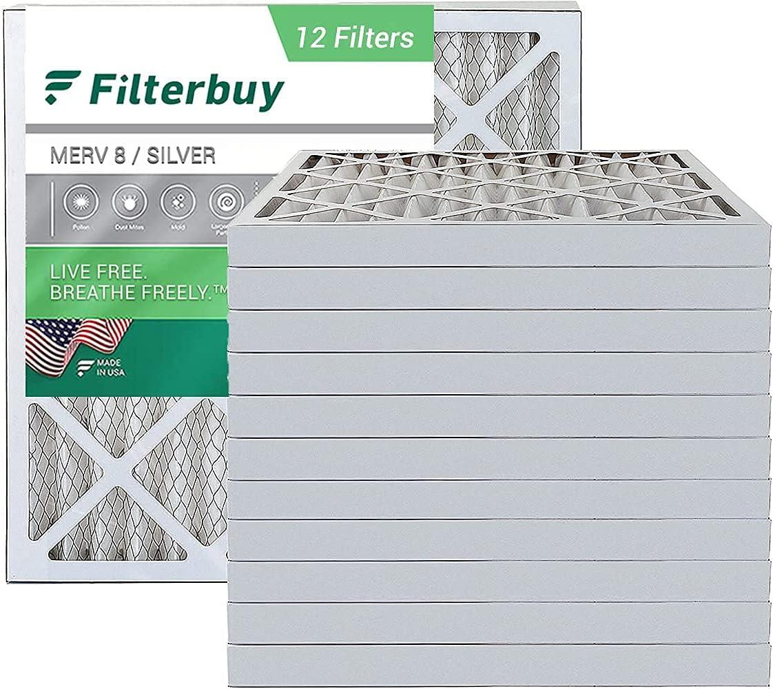 FilterBuy 24x24x2 Air Filter MERV 8, Pleated HVAC AC Furnace Fil