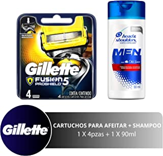 Gillette Gillette Fusion Pro Shield Cartuchos Para Rastrillo Y Head & Shoulders Shampoo, 90 Ml, color, 1 count, pack of/paquete de