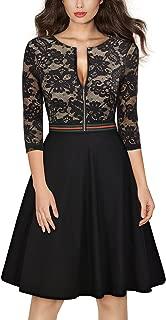 Women's Vintage Floral Lace Front Zipper 3/4 Sleeve Cocktail Swing Dress