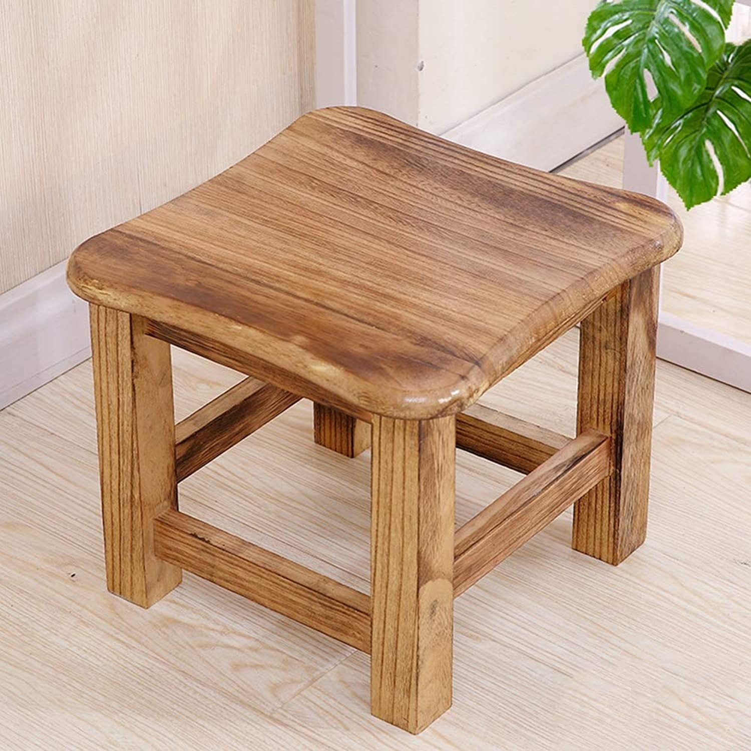 DUXX Stool, Home Stool Solid Wood Creative Bench Small Square Stool Short shoes Bench Living Room Simple Modern Wood Coffee Table Stool (color   D)