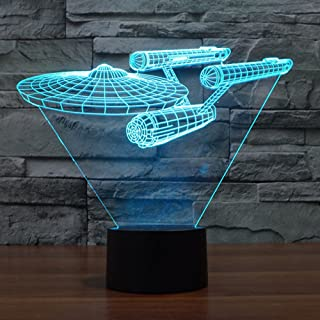 Smalody Star Trek 3D LED Night Light Decoration Lamp 7 Color Key Switch Table Lámpara de escritorio