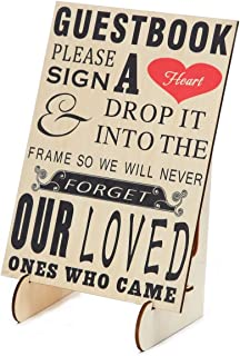 SL crafts Wedding Guestbook Sign Please Sign A Heart Sign for Wooden Wedding Heart Drop Box with Wooden Stand