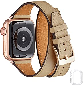 Bestig Band Compatible for Apple Watch 38mm 40mm 42mm 44mm, Genuine Leather Double Tour Designed Slim Replacement Strap for iWatch Series 6 SE 5 4 3 2 1 (Camel Band+Rose Gold Connector, 38mm 40mm)