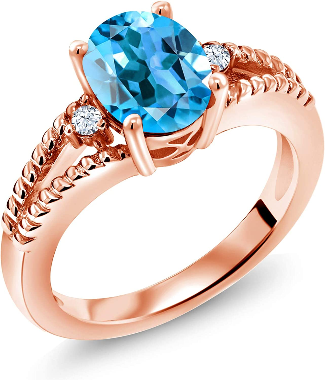 Gem Stone King 1.87 Ct Oval Over item handling ☆ Swiss Regular dealer Rose Gold Blue Topaz 18K Plate