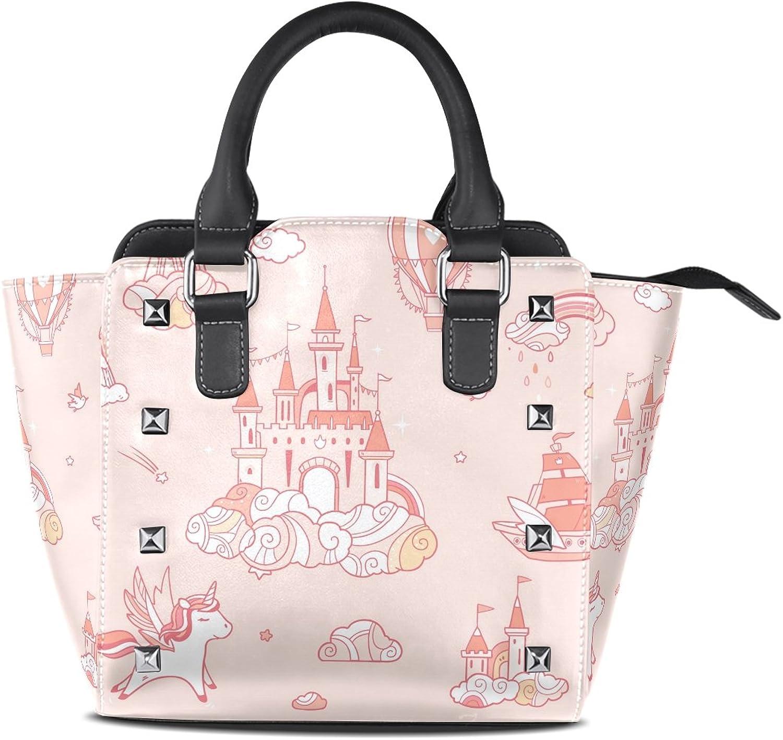 Sunlome Magic Cloud Castle Print Women's Leather Tote Shoulder Bags Handbags