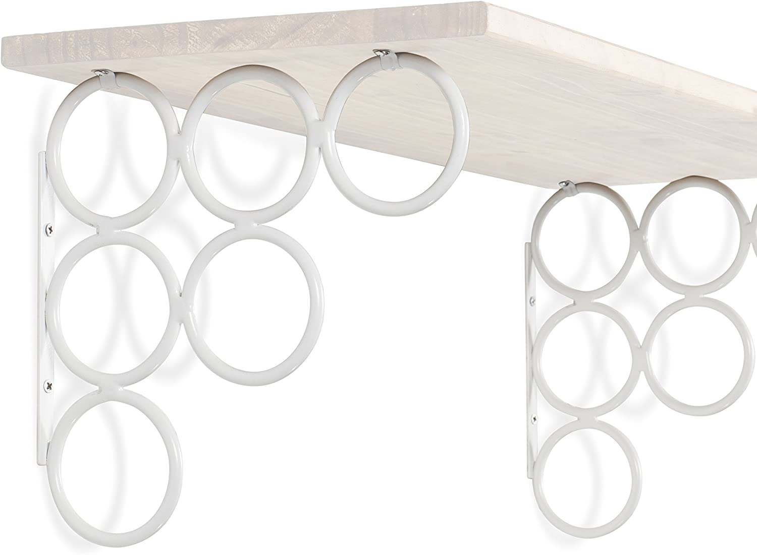 Wallniture Set of 4 Multi-Use Wall Mounted Brackets for Shelves - Brackets Only No Shelf Included -Scarves Crafts Office Products Iron White