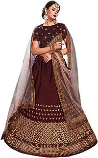 Ethnicset Embroidered Silk Semi Stitched Lehenga Choli For Women (round-LC)