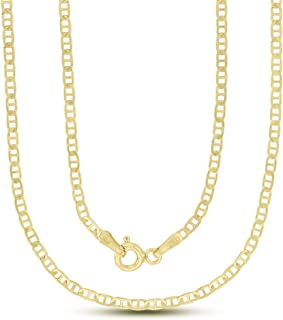14K Gold or Rhodium Plated Silver Mariner Chain For Men | 1mm-13mm Thick | Solid 925 Mariner Necklaces For Men and Women