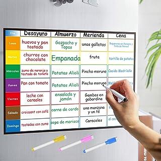 Aoweika Planificador Semanal Tablero del Frigorífico (42x30cm) con 4 Colores Pluma para Pizarra- Pizarra Magnética en Espa...