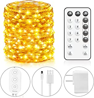 Govee USB String Light, 66 Feet String Light 200 LEDs 8 Scence Modes 4 Timing Options Waterproof Flexible Fairy Light with Remote Control for Home Patio Parties Wedding Festivals- Warm White