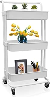 3-Tier Storage Rolling Cart - Metal Utility Organizer Caddy on Wheels, with 360° Rotation and Brakes, for Kitchen, Bathroom, Office - Easy Assembly, White