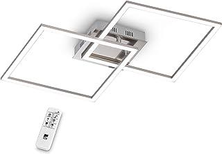 EGLO Palmaves - Lámpara de techo LED de 2 focos, aluminio, acero y plástico cepillado, níquel mate, blanco, con mando a distancia, luz blanca cálida, luz blanca fría, luz nocturna, regulable