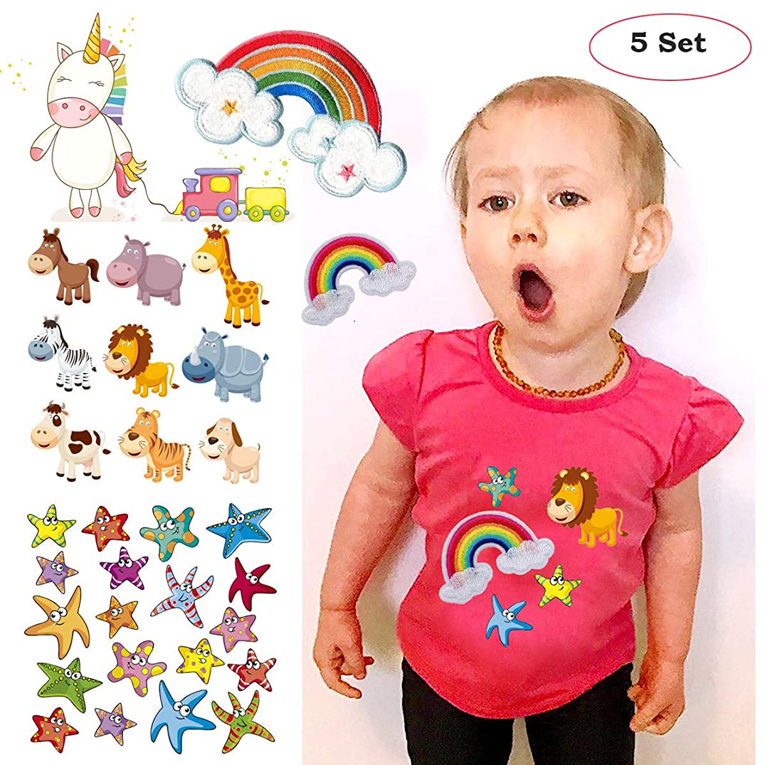 Cute Patches for Kids 5 Sets,Unicorn Patches for Clothes Heat Transfer Iron on Patches Appliques for Clothes, Washable with Unicorn Starfish, 2 Rainbow Embroidery Patches for DIY Baby Clothes