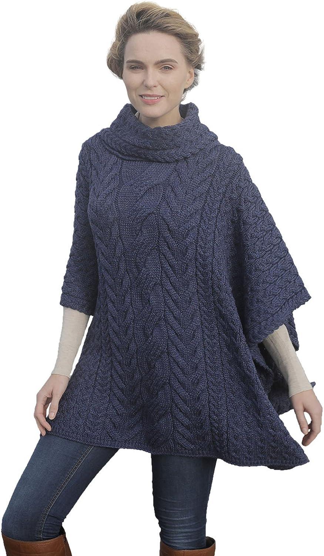 Aran Woollen Mills Supersoft Merino Wool Poncho Cowl Neck