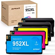 ZIPRINT Remanufactured Ink Cartridge Replacement for HP 952 952XL 952 XL for HP OfficeJet Pro 8710 8720 8702 8715 7740 7720 8210 8730 8216 8725 Printer (Black Cyan Magenta Yellow, 5-Pack)