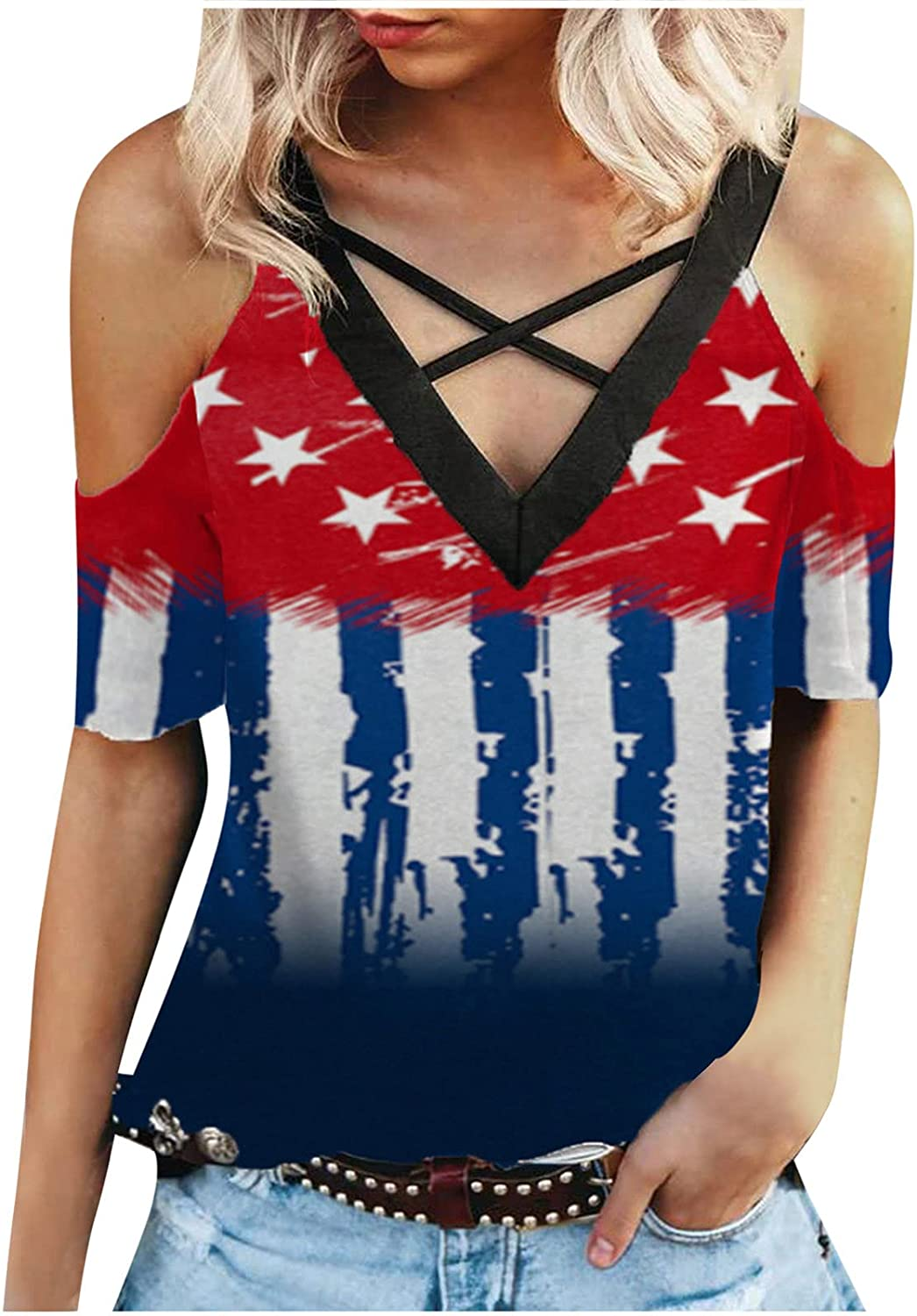 Tops for Women Strappy Hollow Out Cold Shoulder T Shirts America Flag Print Short Sleeve Independence Day Tee