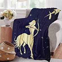 KFUTMD Boys Throw Blanket Starry Night with Constellation Silhouette of a Centaur Dark Blue and Pale Yellow Sofa Camping Reading Car Travel W60 xL80