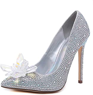 Peatutoori Women Pumps Stilleo High Heels Shoes Floral Crystal Slip on Rhinestone Wedding Shoes